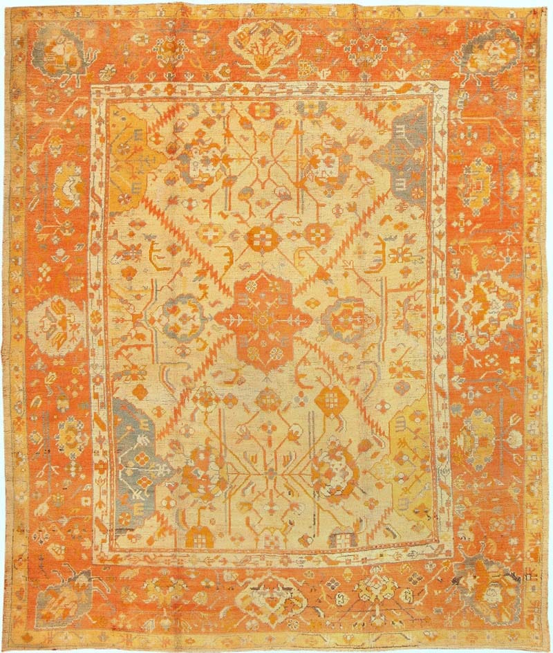 Antique Oushak  Turkish Rug 3040 Main Image - By Nazmiyal