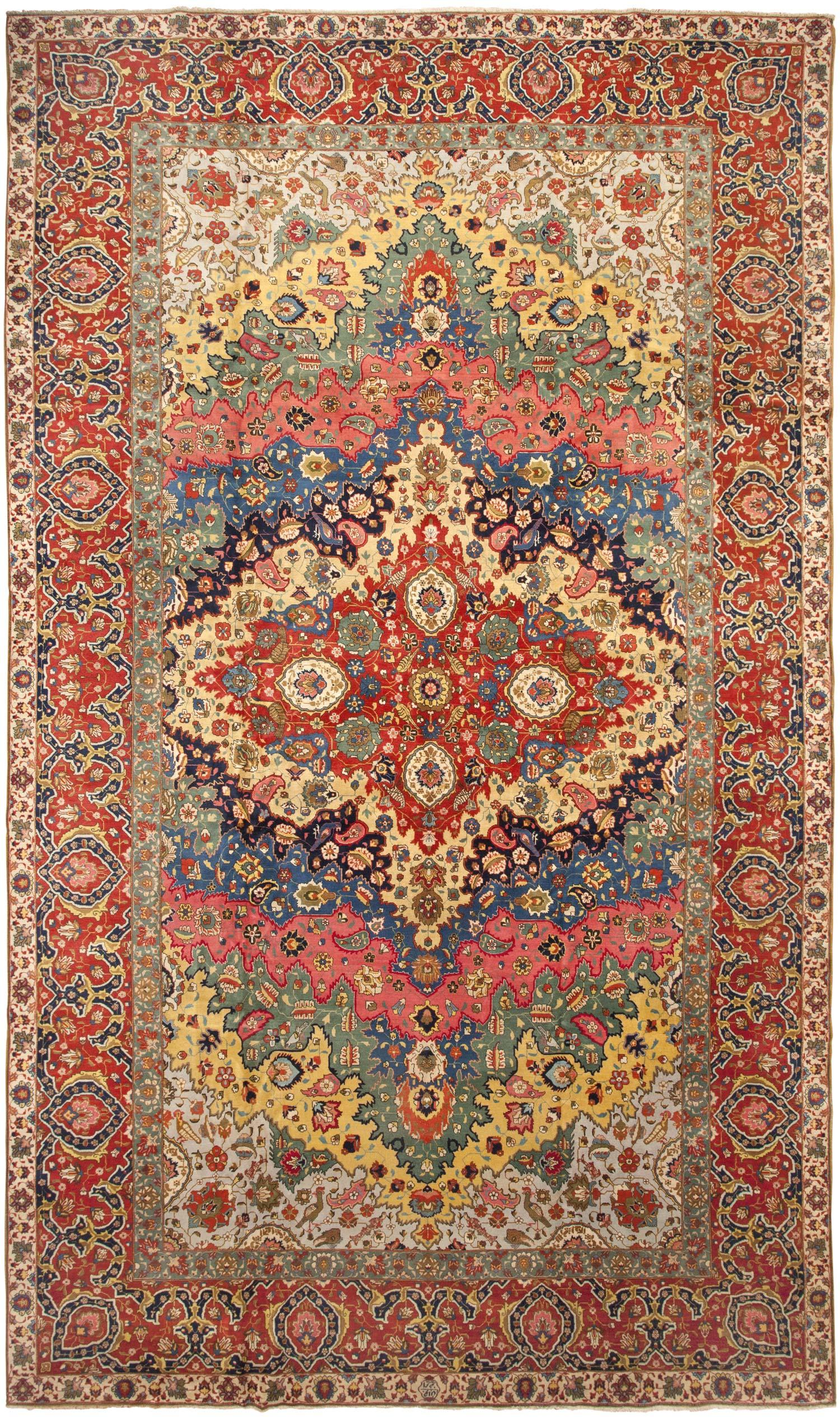 Antique Persian Tabriz with Green Detail