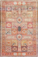 Garden Design Antique Persian Silk Heriz Carpet 47240 Color Detail - By Nazmiyal