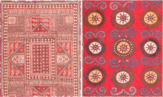 antique uzbek embroidery 47395 color Vintage Ecuadorian Carpet by Artist Edward Gerber 47514