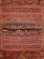 Antique Persian Bakhtiari Horse Cover 47876 Color Detail - By Nazmiyal